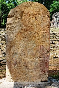 Unlabled stele in the Grand Plaza of Yaxchilan, Chiapas, Mexico