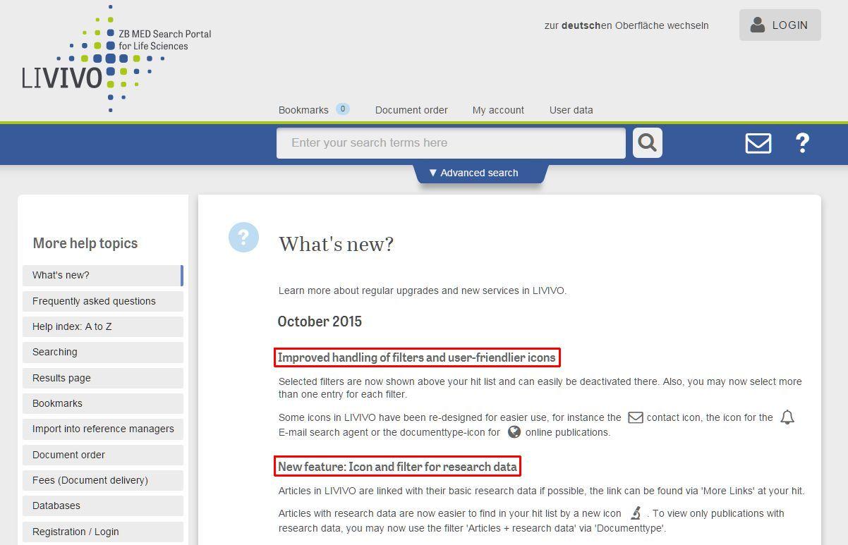 LIVIVO-News-Seite mit Beschreibung der aufgrund der Usability-Studie geänderten bzw. neuen Funktionalitäten (https://www.livivo.de/app/misc/help/news)