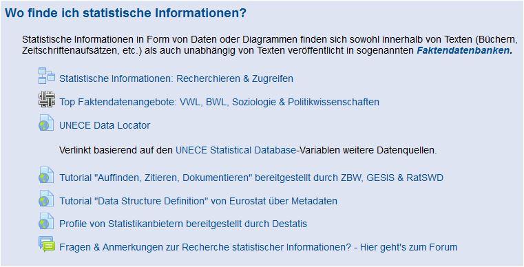 2. Wo finde ich statistische Informationen?