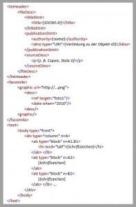 Abb. 2: Beispiel eines TEI-Datensatzes